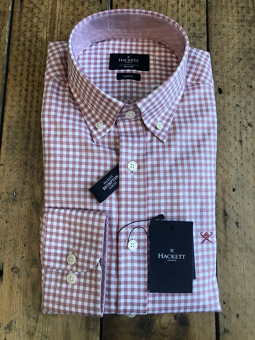 Hackett Flannel Check gingham shirt in pink and white