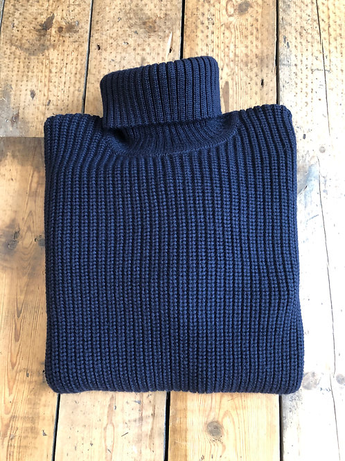 Edwin 'Line' chunky roll neck pullover in Navy