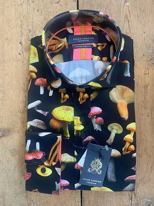 'Fun Guy' shirt by Guide London in Navy/Mushrooms