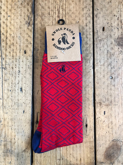Swole Panda Red Diamond bamboo sock