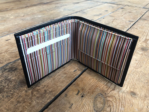 Paul Smith black signature stripe interior billfold and coin wallet