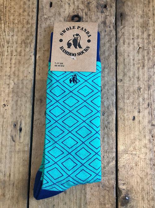 Swole Green Diamond bamboo sock