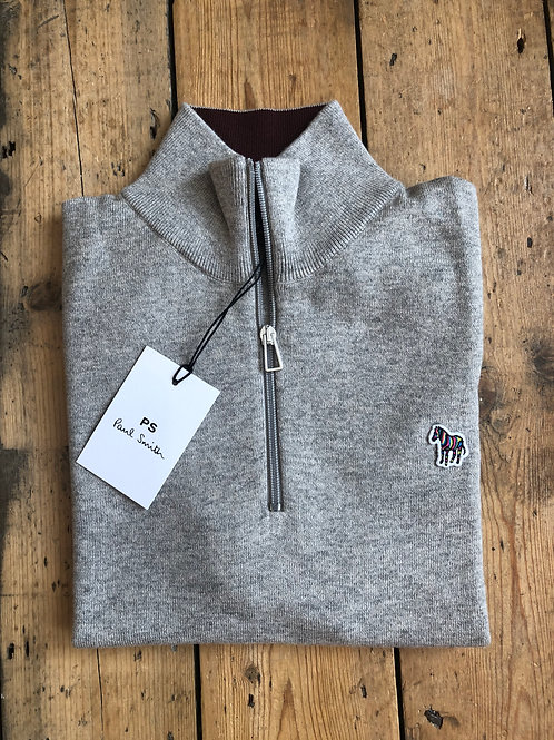 Paul Smith zip-neck Zebra pullover in grey