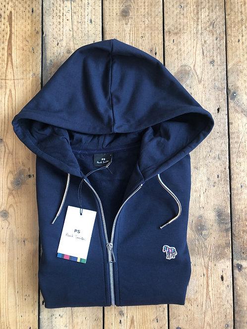 Paul Smith Navy zip-up Hooded top with Zebra Logo.
