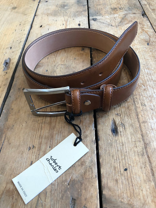 Robert Charles Tan leather with stitched edge belt