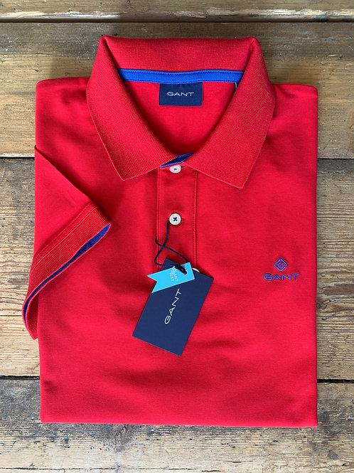 GANT Contrast Collar Piqué Rugger in Red