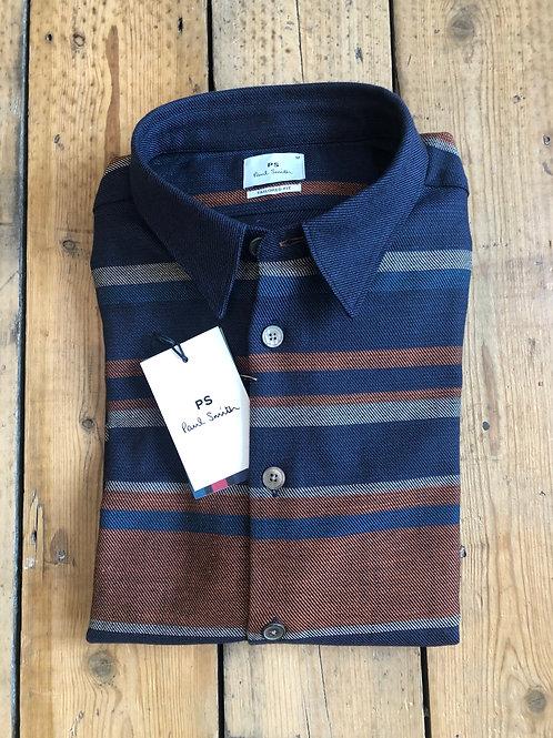 Paul Smith Horizontal stripe shirt in Navy and Rust