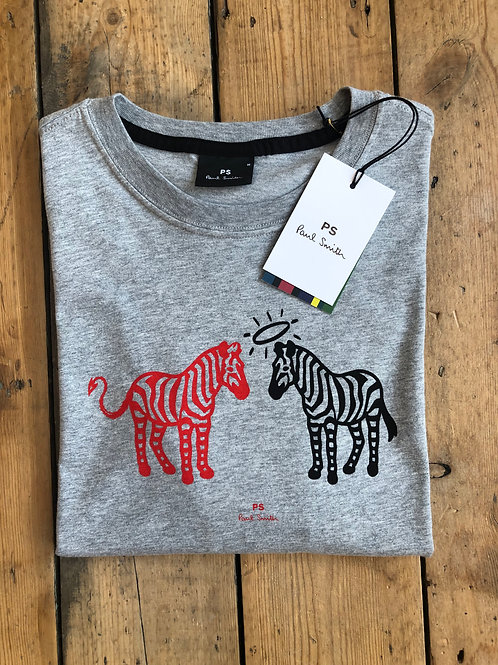 Paul Smith Grey Marl Halo Devil Zebra print T-Shirt