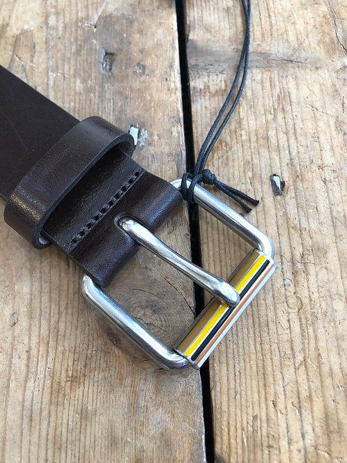 Paul Smith Brown leather signature stripe roller buckle belt