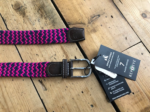 Swole Panda Recycled woven belt in Navy and Pink zig zag