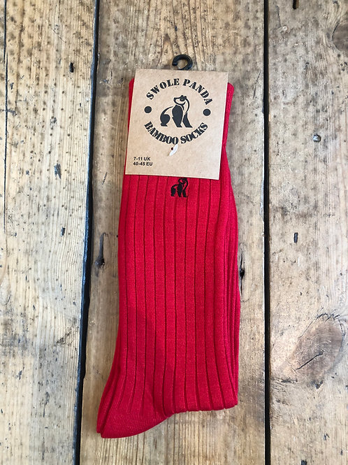 Swole Panda Red Ribbed bamboo sock