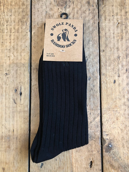 Swole Panda Jet Black Ribbed bamboo sock