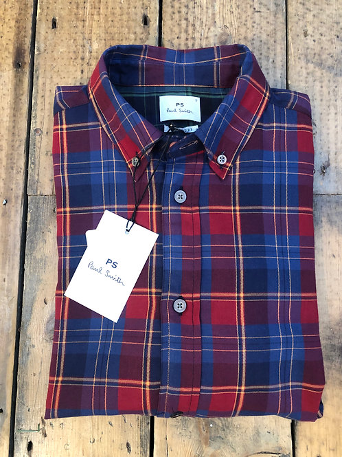 Paul Smith tailored fit cotton plaid shirt in red and blue