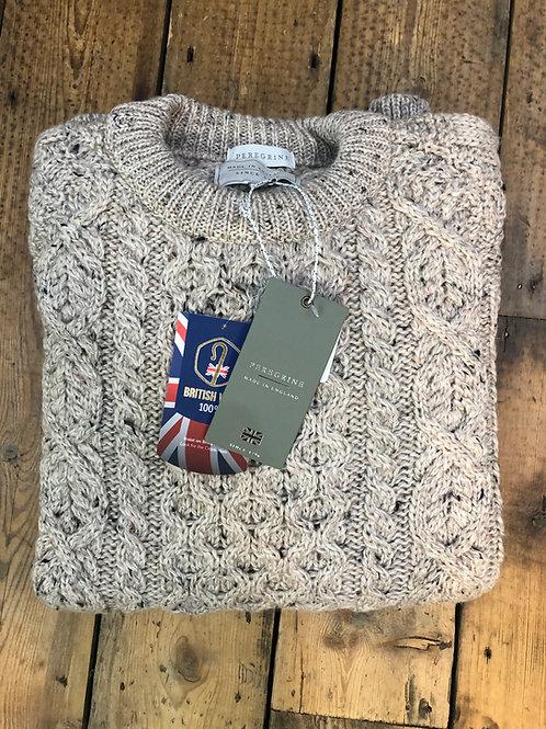 Peregrine 'Hudson' Aran pullover in Natural colour