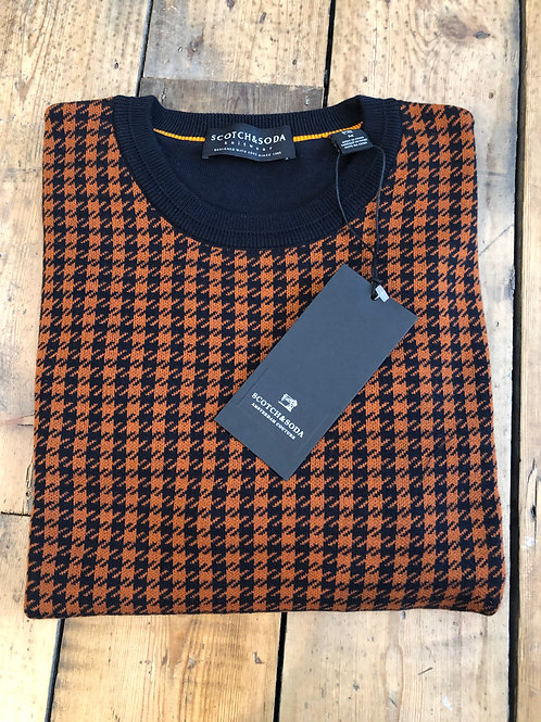 Scotch & Soda Houndstooth crew neck pullover in orange and navy