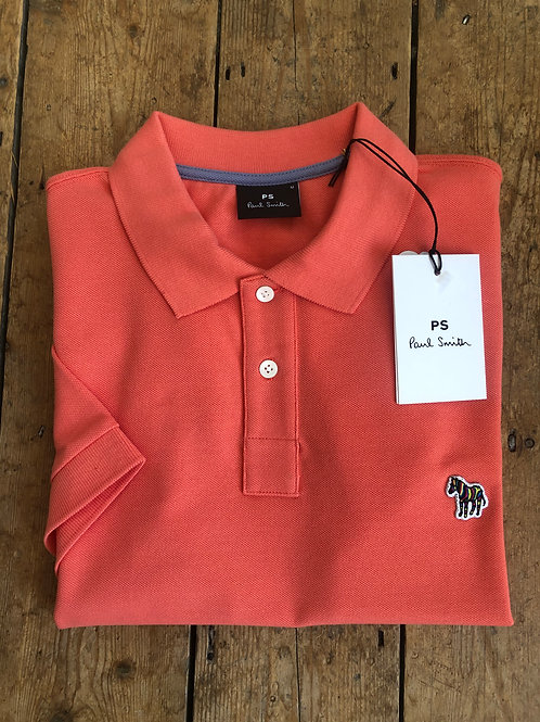 Paul Smith Coral Pink slim fit Zebra Polo Shirt