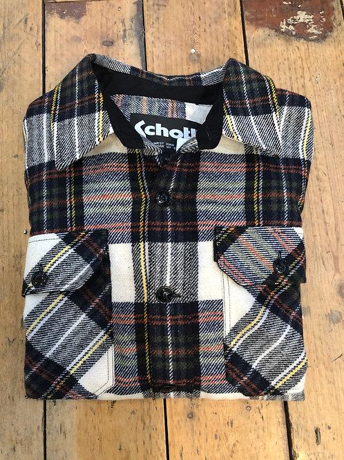 Schott Plaid shirt in black and beige checks