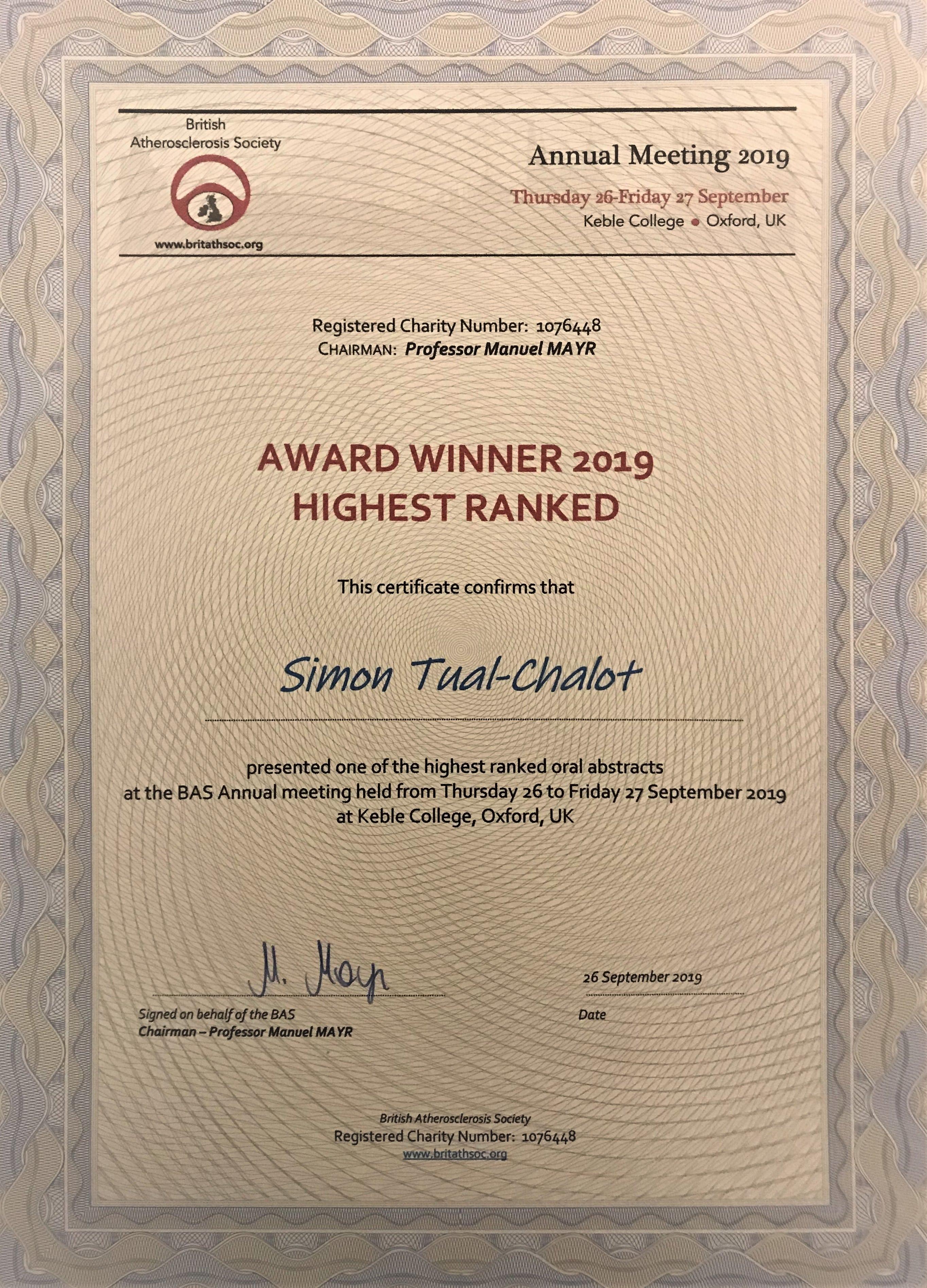 BAS Early Career Award-Simon Tual-Chalot
