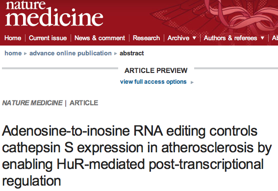 RNA editing in atherosclerosis