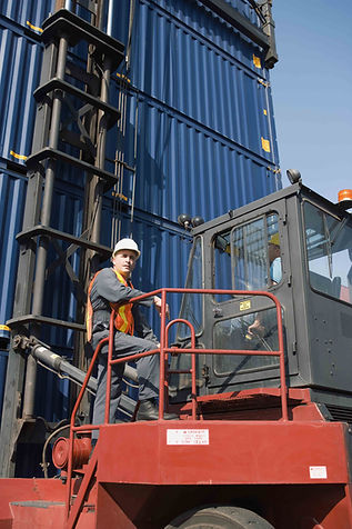 Safety worker with forklift