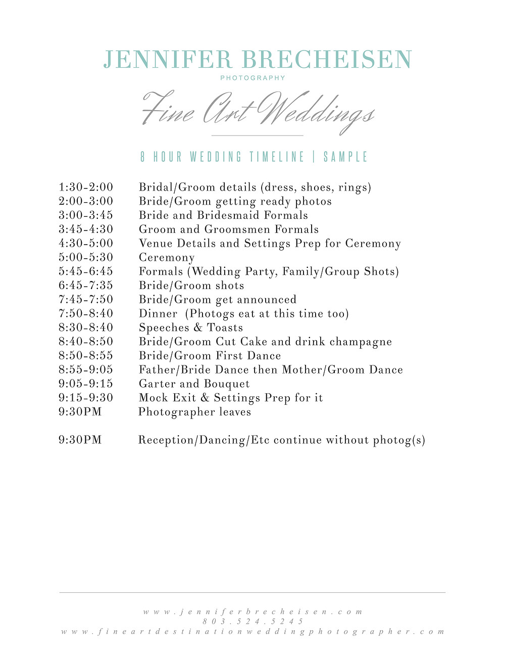 8 hour wedding day timeline