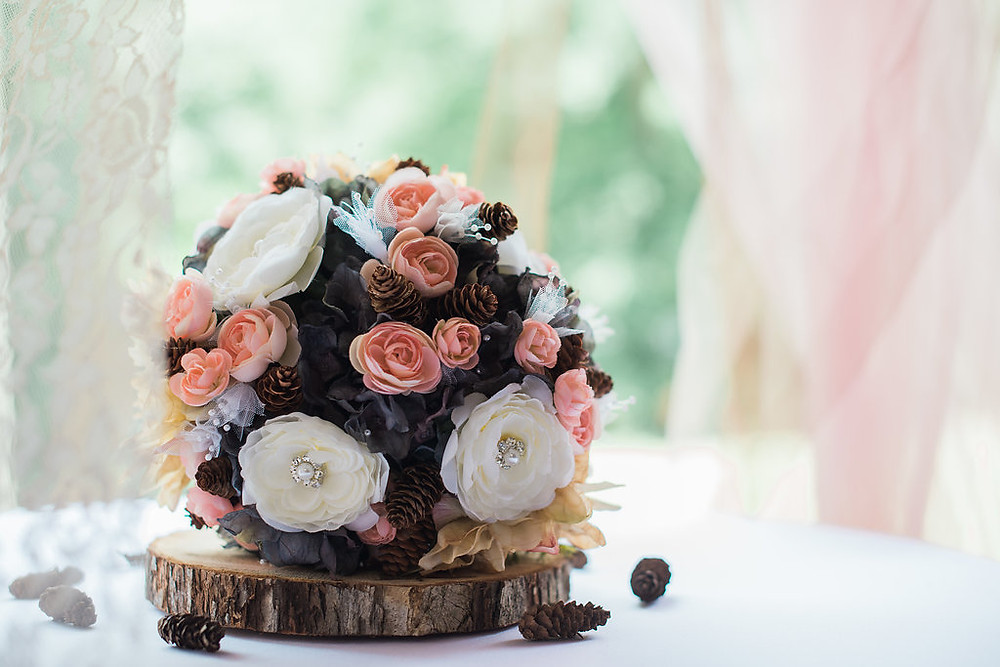 navy blush cream white pink southern chic wedding bouquet
