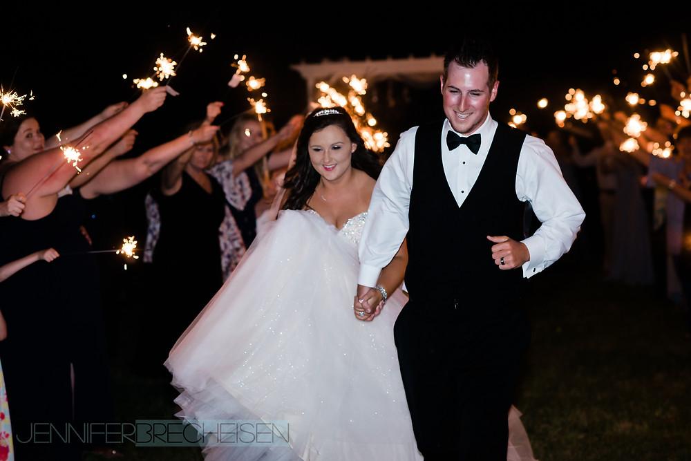 wedding photographer asheville nc sparkler exit