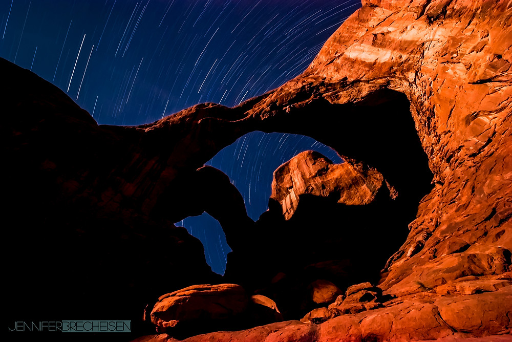 Star Trails at Arches NP by Jennifer Brecheisen, Photographer SC.