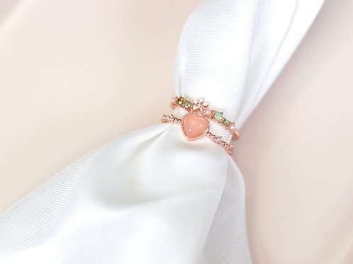 Pink Heart Double Band Ring