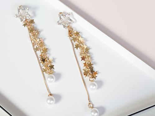 Gold Stars Drop Earrings