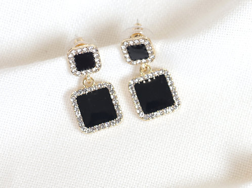 Double Black Square Earrings