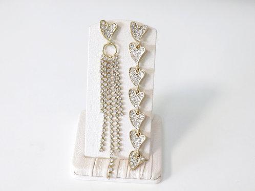 Gold Diamante Hearts Earrings