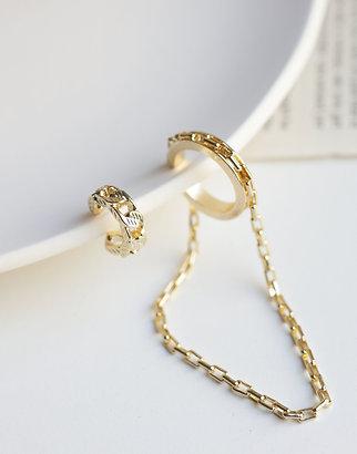 Gold chai cuff earrings