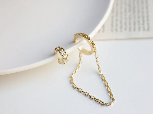 Gold chain cuff earrings