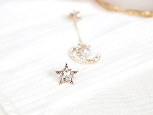 Moon Pearl Drop Earrings