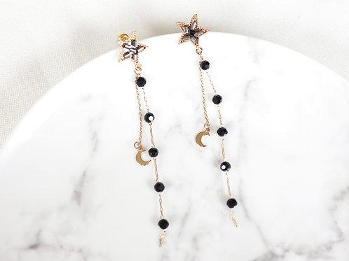 Black Star Drop Earrings