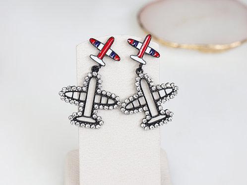 Diamante Airplane Earrings