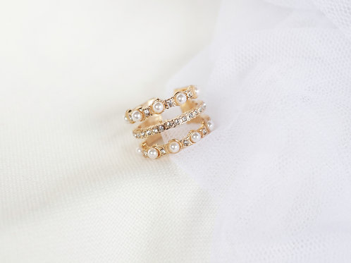 Gold Pearl Band Ring