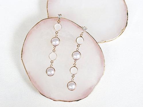 Pearl Stone Drop Earrings