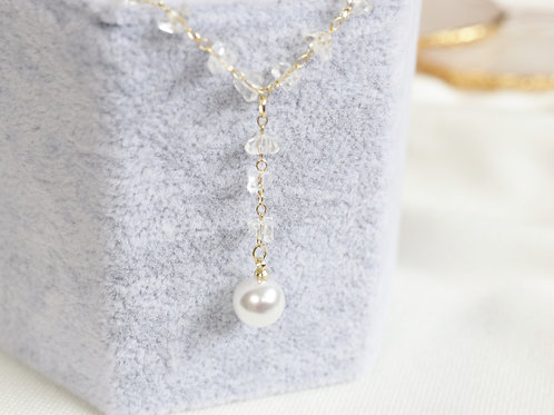 Clear Stone Pearl Necklace