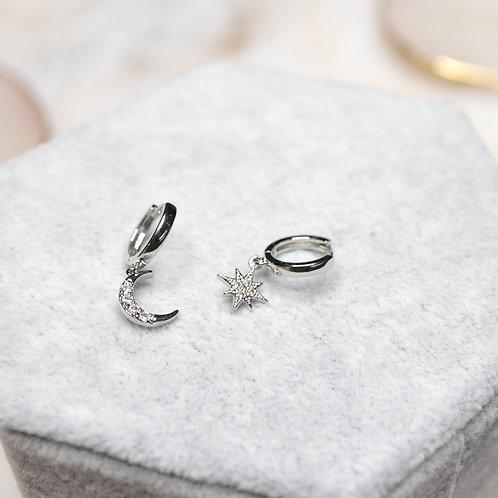 Sliver Minimal Moon Star Earrings