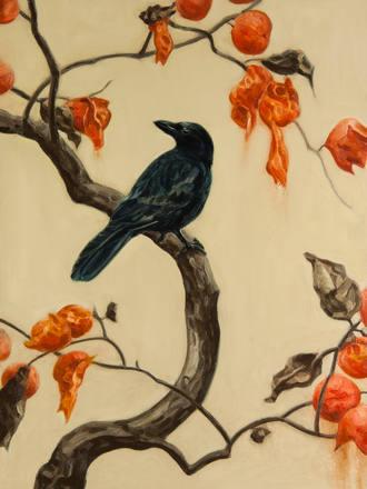 柿に烏 Persimmon tree and crow