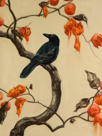 柿に烏|Persimmon tree and crow
