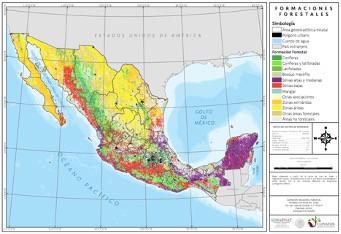 Mapa 1.- Distribución de las formaciones forestales en México. Fuente: INFyS 2009-2014.