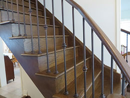 Oak Stairs & Iron Pickets - Installation