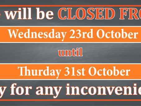Bourkes Bikes will be temporarily closed - 23rd October to 31st October.