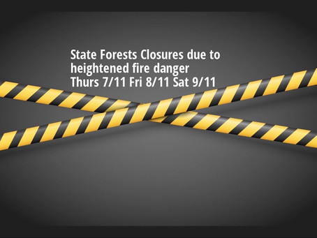 No shop ride this weekend! All State Forests CLOSED