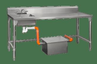 Fregadero industrial con trampa de grasa