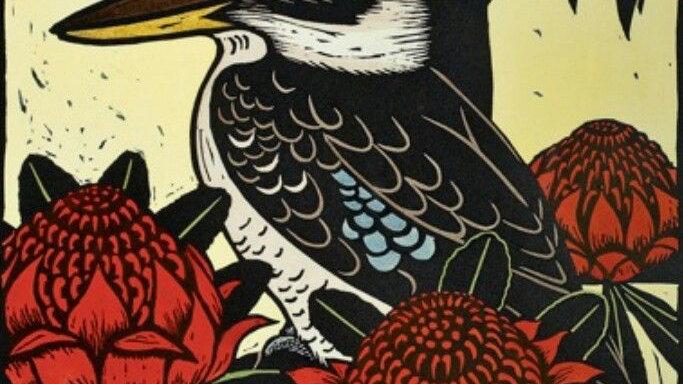 Leslie Van Der Sluys -'Kookaburra and Waratah'