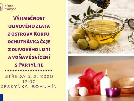Ochutnávka čaje z olivového listí s Evou z Korfu & Partylite svíčky s Monikou – workshop